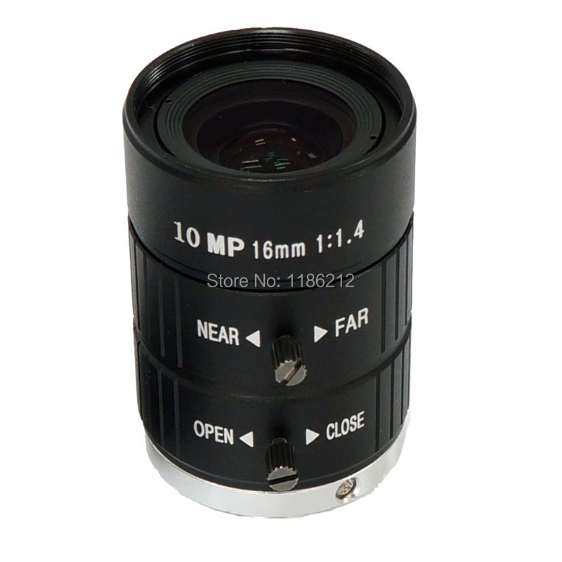 1/1.8-inch and 2/3-inch sensor F1.4 Manual Iris 16 mm for surveillance and machine vision C Mount 10 MP HD Lens