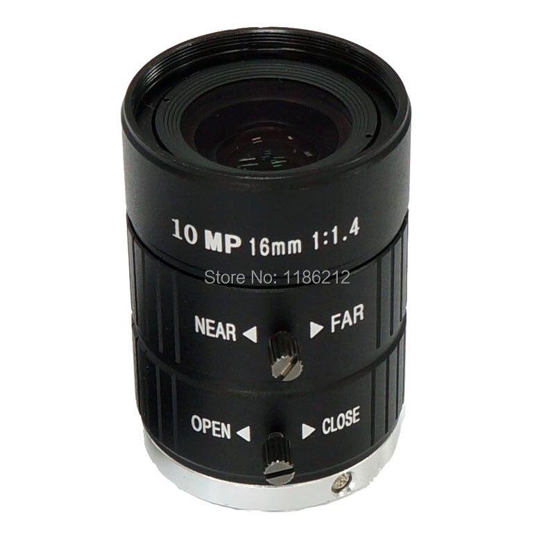 1/1. 8 pouces et 2/3 pouces capteur F1.4 Iris manuel 16mm pour la surveillance et la vision industrielle C monture 10 MP HD lentille