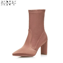 Short Thick Heel Boots Patchwork High-heeled Knee-high Boots Scrub Genuine Leather Color Block Decoration Boots for Women 1/15