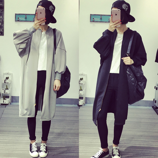 Hot fashion style pregnant Simple European style zipper windbreaker KD solid loose large size women all-match long casual jacket