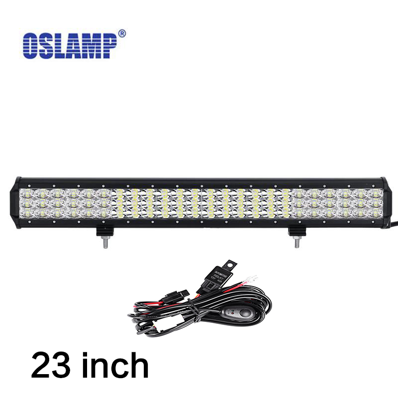 Oslamp 23 inch 6D 3-row LED Light Bar combo beam Offroad work light 12V 24v SUV ATV 4x4 4WD trailer trucks 22 inch led bar offroad 120w led light bar off road 4x4 fog work lights for trucks tractor atv spot flood combo led lightbars