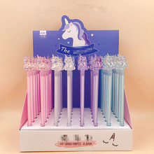 48pcs/pack Cartoon Clear Crystal Animal Head Gel Pen Unisex Rollerball Water Ink Sign Office School Gift Girls Favor