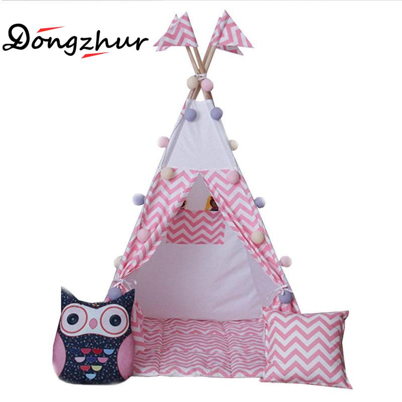 Pink Children's Tipi Indoor Tent 0-3 Years Baby Cotton Canvas Play House Tent European And American Style Children Teepee Tent pink clouds teepee tent indoor childrens play tipi