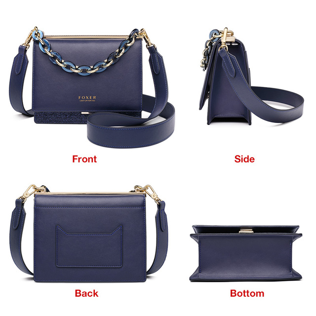 FOXER Brand Female Shoulder Bags Crossbody bag New Design Lady's Fashion Glitter Split Leather Bags Women Valentine's Day Gift