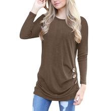 Round neck collar round neck long sleeve cotton button decoration Slim female T-shirt free shipping cotton notch neck long sleeve t shirt