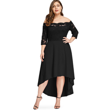 цена ROSE GAL summer dress Plus Size Off Shoulder High Low Lace Dip Hem Party long Dress Women Elegant Dress Maxi Dresses Vestido