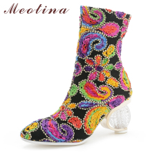 Meotina Women Ankle Boots Winter Boots Rhinestone Strange Style Heels Short Boots Flower High Heel Shoes Ladies Plus Size 34-43
