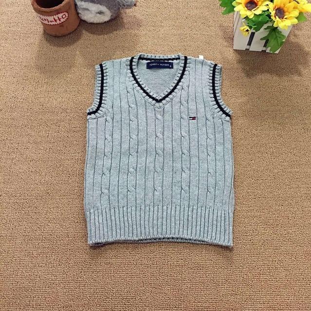 Caliente venta del otoño del resorte 100% algodón rebeca del bebé del niño con cuello en v chaleco niños chaleco niñas suéteres para 2 - 6 T