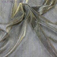 Tecido fio de ouro bom alongamento trama de tricô tecido tule de poliéster vestido de luxo tecido texturizado tecido 160 cm * 5 metros