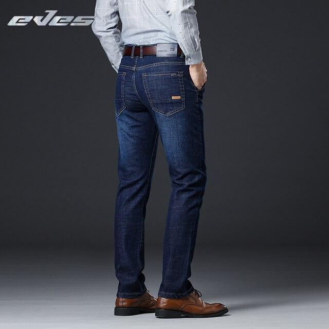 e5f1665f6 Pantalones vaqueros de mezclilla elásticos rectos informales de negocios  azules para hombre de 2018