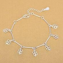 Красивые модные женские браслеты с клевером для женщин серебро