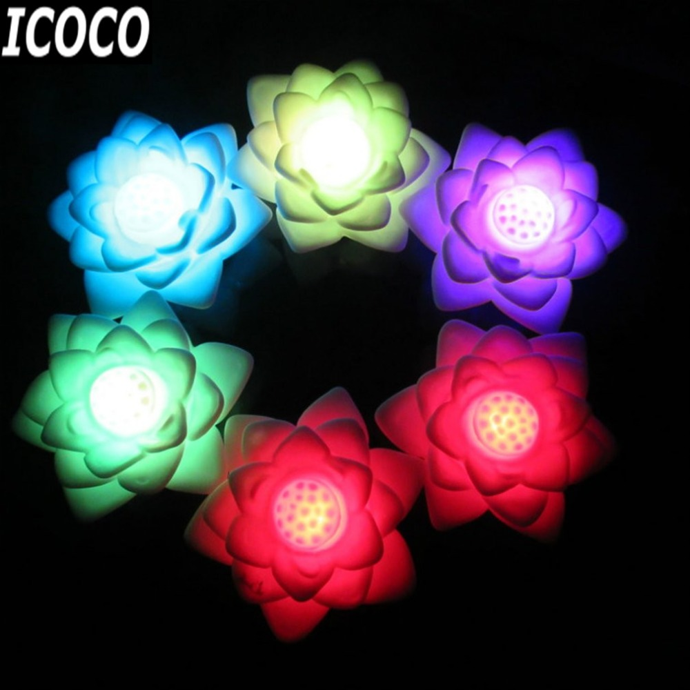 ICOCO Colorful Light Color Changing LED Flower Lamp Romantic Lotus Lantern Candle Lights LED Night Light Party Decoration