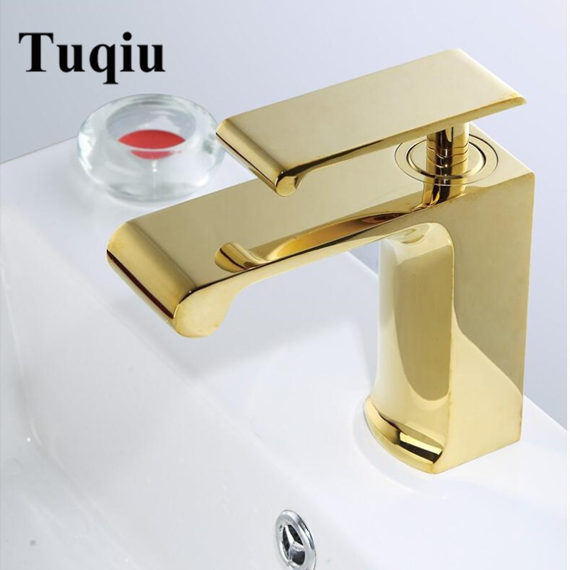 Basin Faucets Modern golden Bathroom Faucet Single Hole Cold and Hot Basin Water Tap Basin Faucet Mixer Taps