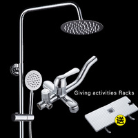 SET Top Quality bath shower faucets set Bathroom mixer shower bathtub taps rainfall shower wall torneira tap shower head