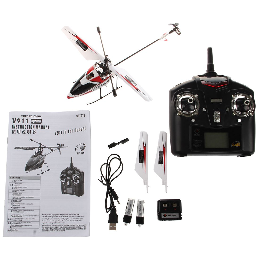 Wltoys Outdoor V911 4CH 2 4GH Single Propeller Mini Radio RC Helicopter Gyro RTF