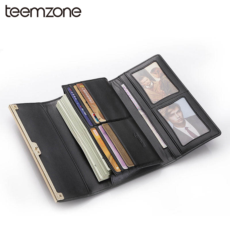 teemzone  Fashion Women Genuine Leather Hasp Wallet Lady Card Purse Handbag Checkbook Phone Long Wallet Photo Handbag Q452 teemzone top european and american fashion evening bag ladies genuine leather long style hasp note compartment wallet j25