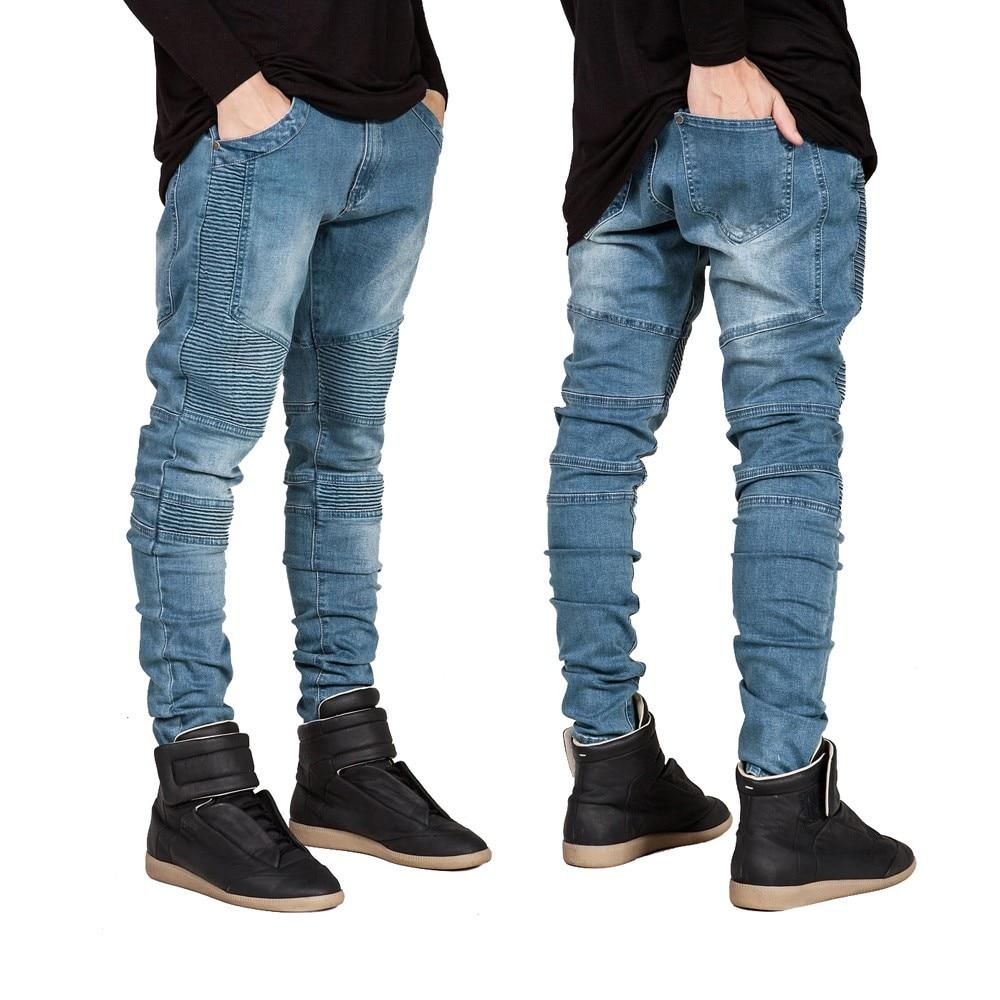 cda0182eb Detail Feedback Questions about Hi Street Mens Biker Jeans Motorcycle Slim  Fit Washed Men Runway Slim Racer Biker Jeans Strech Hiphop Jeans For Men on  ...