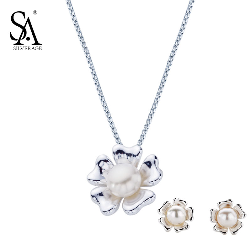 SA SILVERAGE 925 Sterling Silver Jewelry Set For Women Natural Pearl Set Jewelry Pendant Necklace And Stud Earrings Party Gift yoursfs twisted necklace and dangle stud earrings jewelry set for mother s day with solitaire austria crystal gift 18k white gol