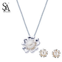 SA SILVERAGE 925 Sterling Silver Jewelry Set For Women Natural Pearl Set Jewelry Pendant Necklace And
