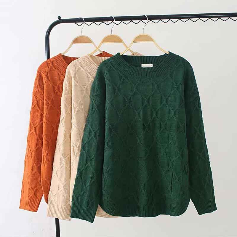 F42 осень-зима Свободные свитеры 3XL плюс Размеры женская одежда модные Свободные Вязание пуловеры 6812