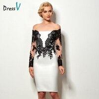 Dressv black&white sheath short cocktail dress long sleeves appliques knee length wedding party dress cheap cocktail party dress