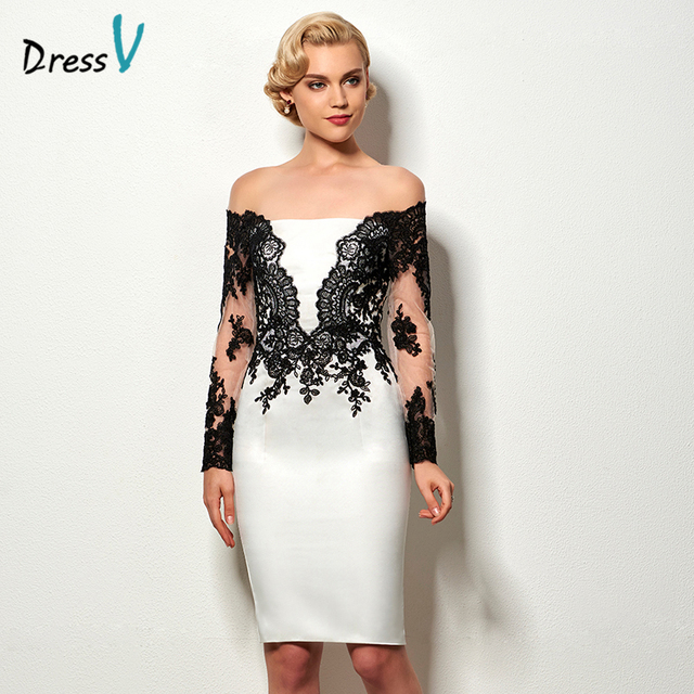 Dressv black white sheath short cocktail dress long sleeves appliques knee  length wedding party dress cheap cocktail party dress 6e1f1ca99