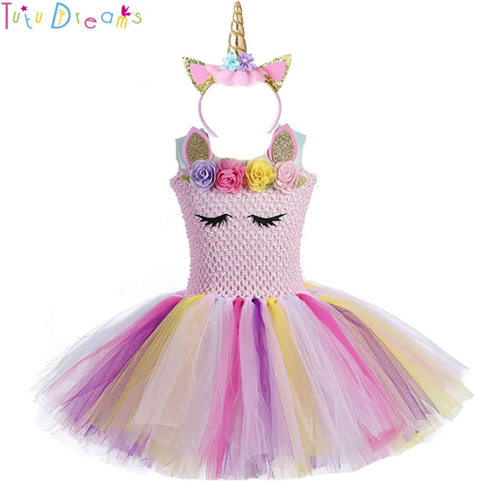 48a41d6dc7f4 Cute Princess Girl Pastel Unicorn Birthday Tutu Dress with Headband Pink  Flowers Girl Pony Theme Party