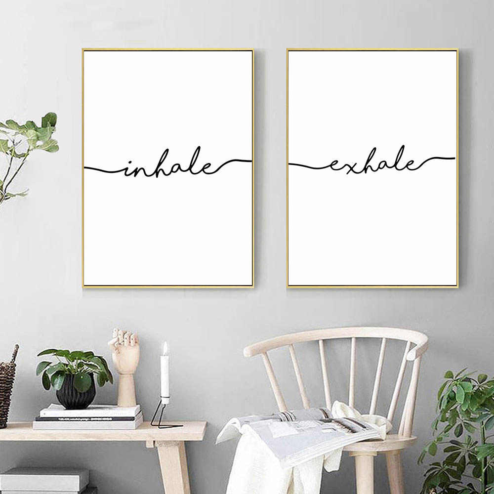 Inhale Exhale Black White Poster Minimalist Canvas Wall Art Canvas Print Decorative Picture Painting Nordic Room Decoration