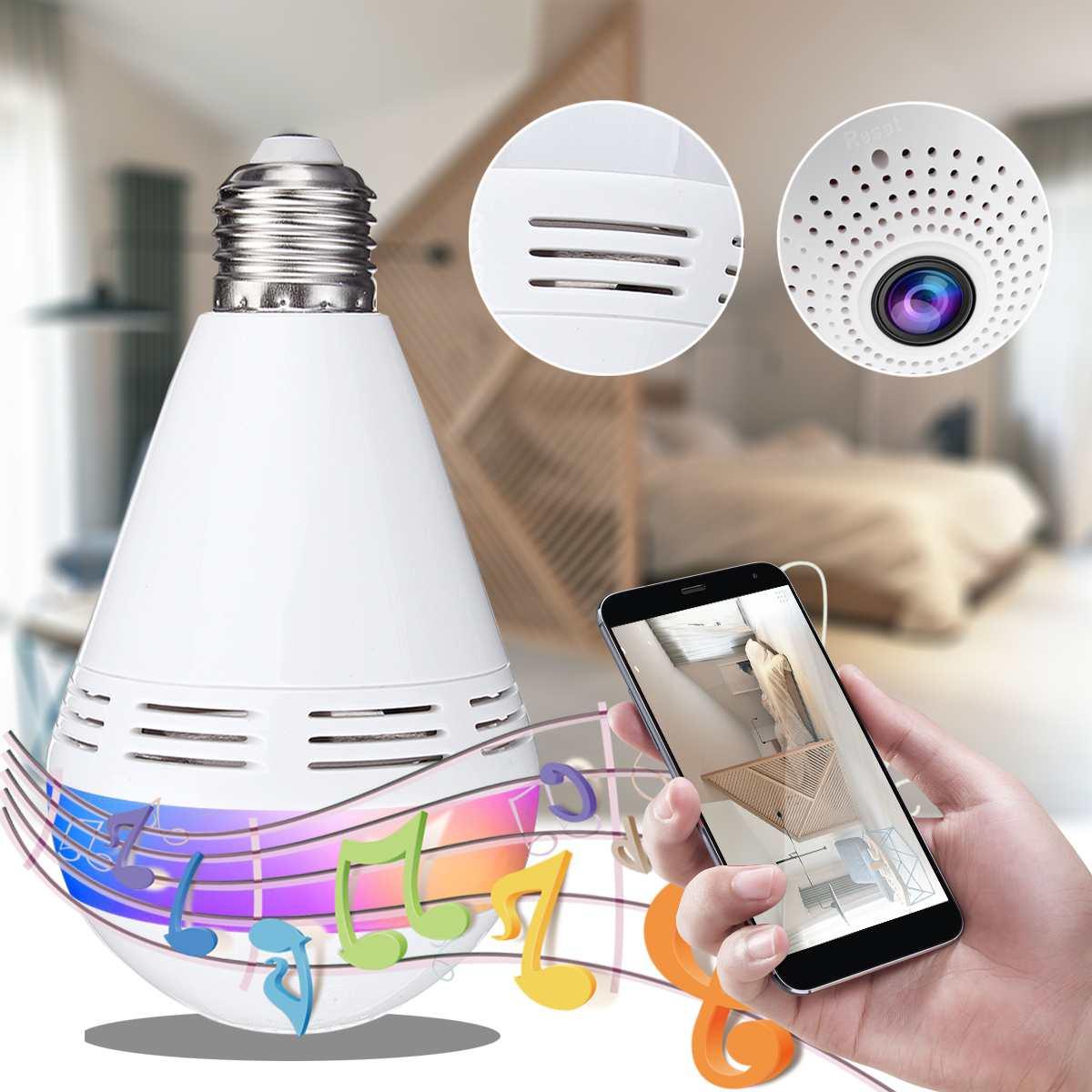 E27 RGB sans fil bluetooth haut-parleur ampoule musique jouant Dimmable lampe à LED ampoule IP caméra Wifi FishEye CCTV caméra de sécurité