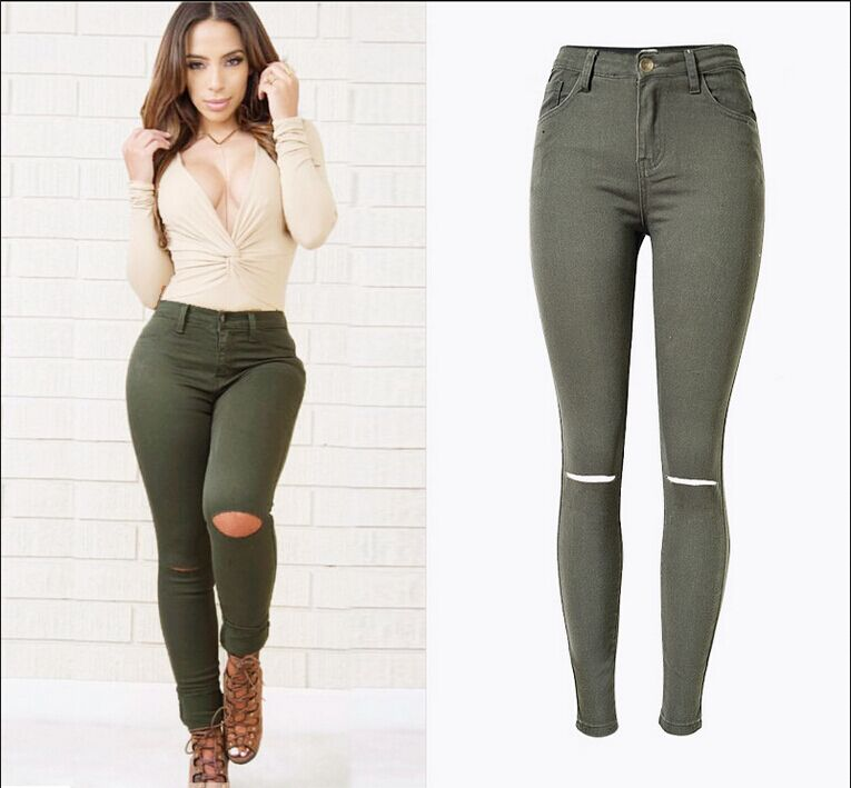 Online Buy Wholesale green skinny jeans from China green skinny