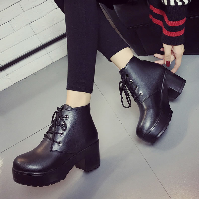New Plus Size 34-43 Thick Heel High Heels Oxford Shoes For Women Fashion Vintage British Style Lace Up Women Pumps Shoes Woman 8 mnixuan british style woman shoes 2018