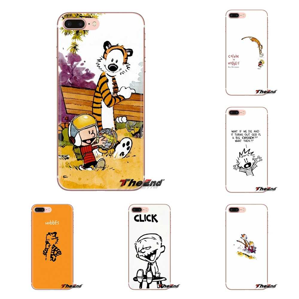 For Huawei G7 G8 P7 P8 P9 P10 P20 P30 Lite Mini Pro P Smart Plus 2017 2018 2019 Transparent Soft Shell Covers Calvin & Hobbes