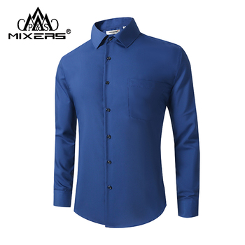 2018 New Blue Men Casual Shirts Long Sleeve Fashion Holiday Shirt Men Cotton Formal Dress Shirt Male Clothing camisa masculina