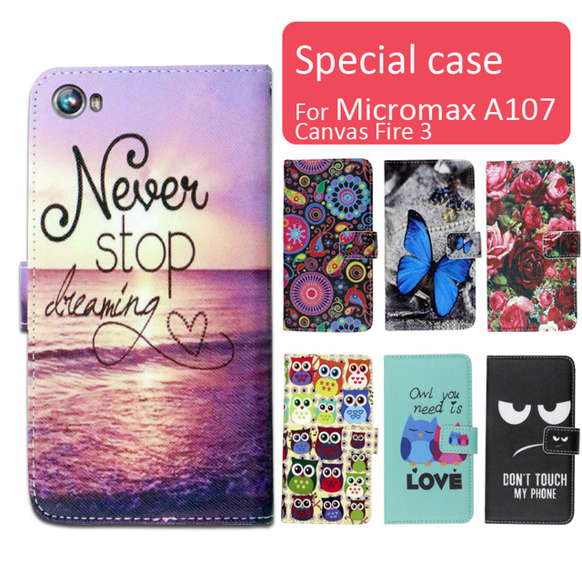 Fashion cartoon printed flip wallet leather case for Micromax A107 Canvas Fire 3 with Card Slot phone bag book case,free gift