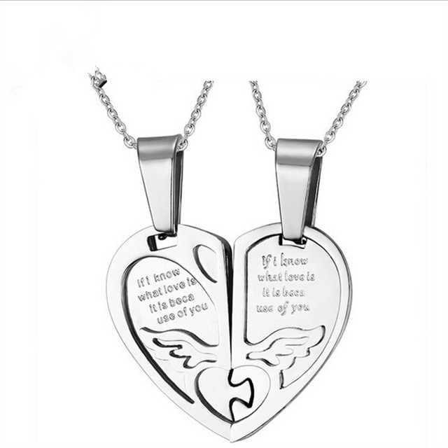 Wholesale Fashion Accessories Heart Pendant Necklace 316L Stainless Steel Male Female Couple Gift For Women