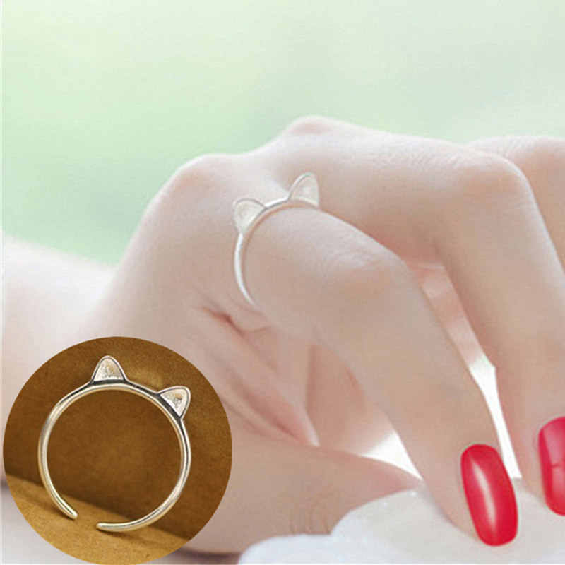 Fashion Jewelry Heart Ring Silver Plated Cute Cat Ear Ring For Women Girl Gifts Adjustable Star Charms Ring Wholesale
