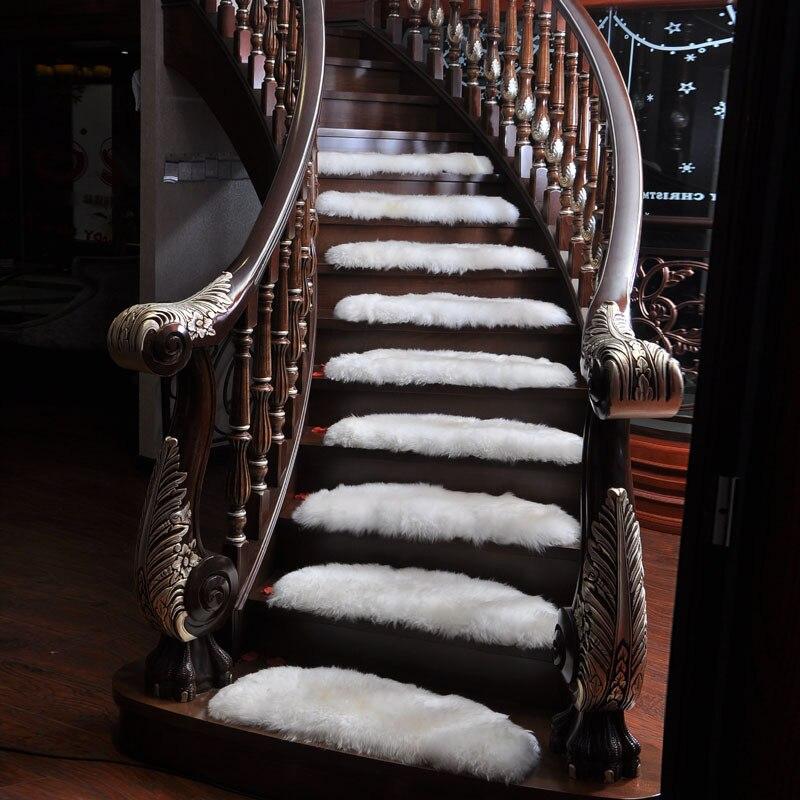13 pcs Arc Faux Laine Tapis de style Européen Non-slip Mat Coin En Caoutchouc-livraison Étape Tapis Solide bois Tapis D'escalier Escalier En Colimaçon Tapis