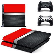 Red - black PS4 Vinyl Skin Sticker Cover for Playstation 4 System Console and Controllers(China)