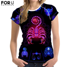 FORUDESIGNS Summer 12 Constellations Print T Shirt for Women Short Sleeve Female Cool t-shirt Casual Women Tops Dropshipping цена