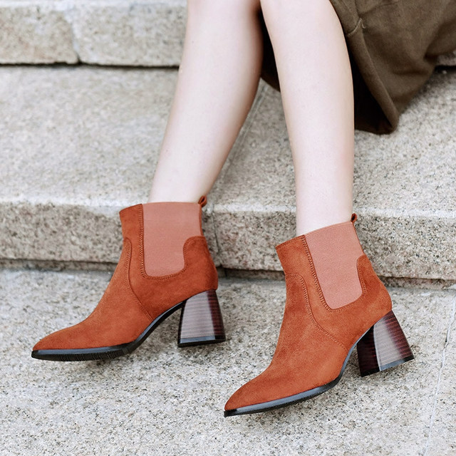 Retro Sexy Genuine Leather Womens Casual Pointed Toe Thick High Heel Ankle Boots Winter Warm Plush Martin Boots