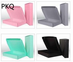 Image 4 - 10 sztuk różowy/czarny/zielony/szary pudełko na papier tektura falista prezent pudełko opakowanie na kosmetyki kartonowe pudełka kartonowe