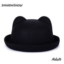 Модная трендовая шляпа Федора уникальная Милая шерстяная зимняя и осенняя шляпа с ушками Женская горро для женщин