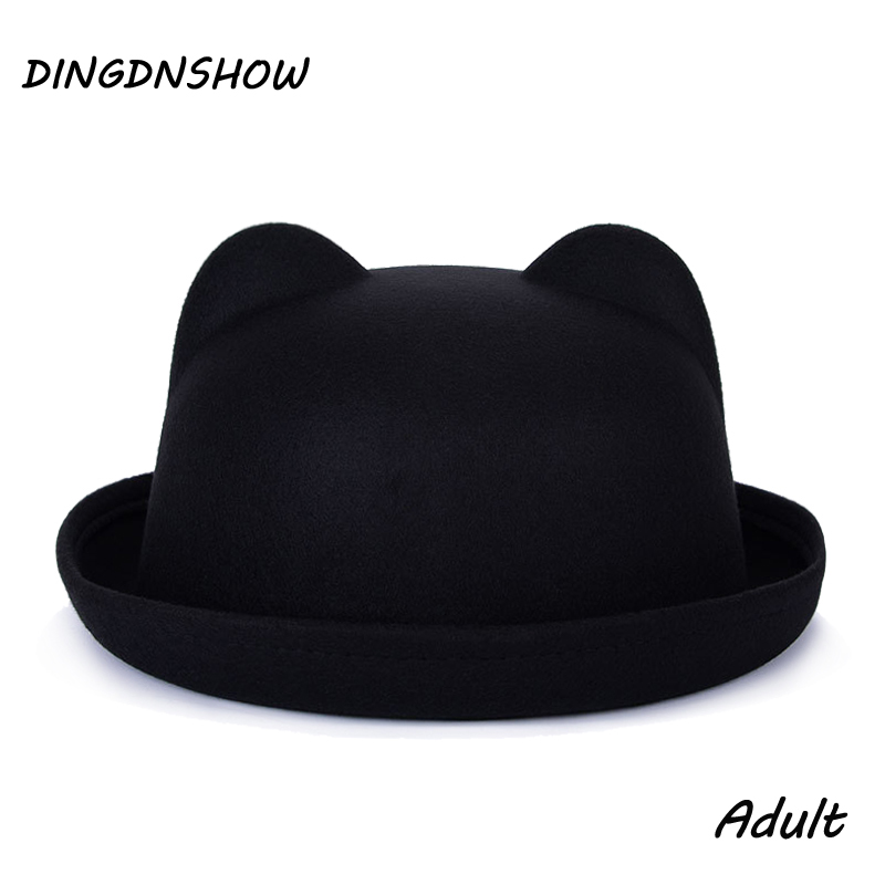 [DINGDNSHOW] 2019 Fashion Trend Fedora Hat Unik Cute Voksen Ull Vinter og Høst Floppy Hat Med Ører Kvinne Gorro For Women