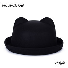 [DINGDNSHOW] 2019 Fashion Trend Fedora Hat Unique Cute Adult Wool Winter and Autumn Floppy Hat With Ears Female Gorro for Women(China)