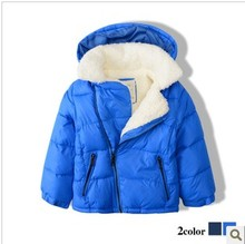 New Baby Winter cotton-padded Coat small Boys Inclined zipper lambs wool jcotton padded coat acket kids Hooded winter coat