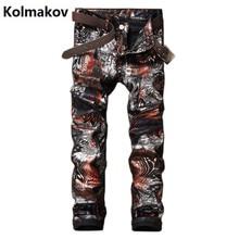 KOLMAKOV 2017 Men British kind Jeans, Fashion Brand printing Denim casual pants Men, conventional jean males,trousers plus-size 28-38