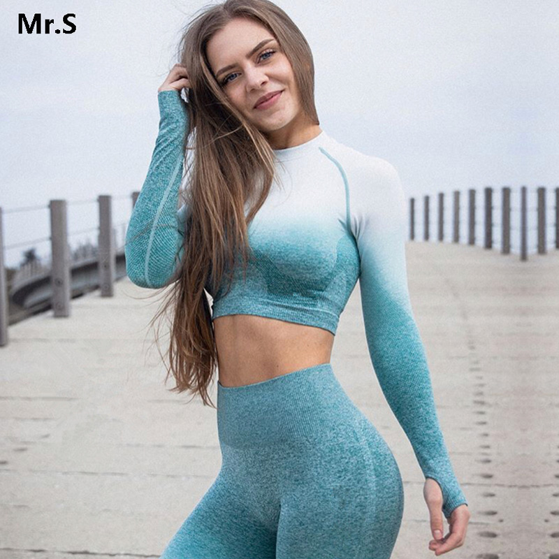 Ombre Crop Top Yoga Shirts for Women Seamless Long Sleeve Workout Tops Gym Shirts with Thumb Hole Fitness Crop Top Camisas Mujer marled knit crop top with split skirt