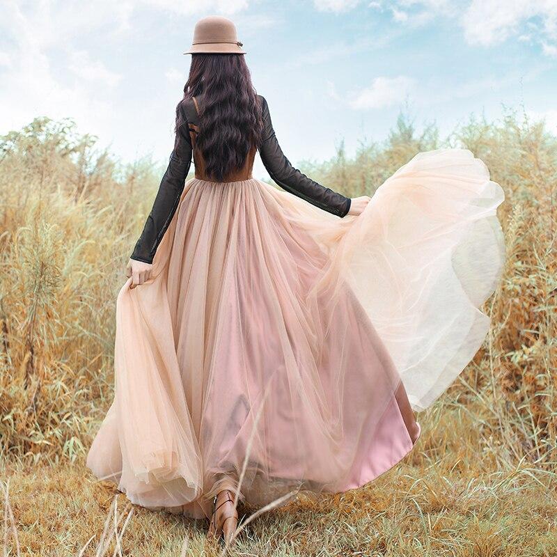 Boshow Pièces l Femmes Marron Longues Nouvelle Livraison À Gratuite Et Longue Patchwork Deux Automne Printemps gris Manches De 2019 Maxi Faux Robes Vintage Gaze S 7qg5Bw
