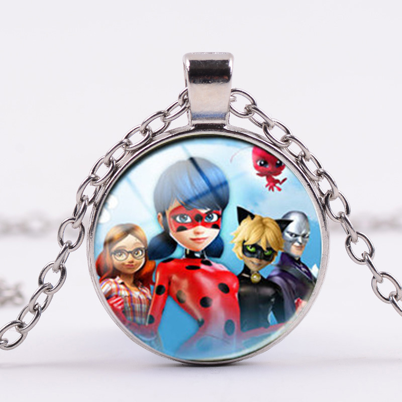 Miraculous Ladybug Cartoon Character action figurine Necklace Figure Pendant LadyBug Cat Noir necklace for kids Christmers gifts cute cartoon human figure pendant necklace white red
