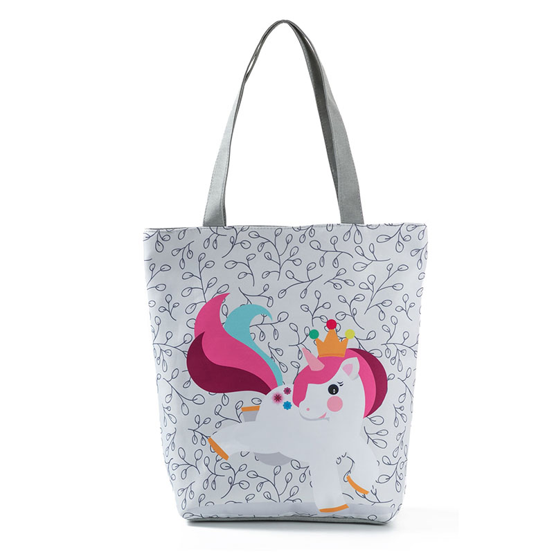 8e7ee56ece48 RUNNINGTIGER Cartoon Unicorn Print Tote Handbag Bag Female Canvas Design  Beach Bag Lady Daily Use Shoulder Bag Shopping Bags-in Shoulder Bags from  ...